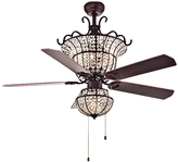 Charla Four-Light Crystal Chandelier Ceiling Fan