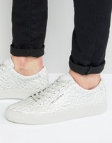 Religion Crushed Leather Trainers