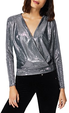 Ramy Brook Metallic V Neck Top