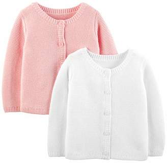 Carter's Simple Joys by Girls' 2-Pack Knit Cardigan Sweaters