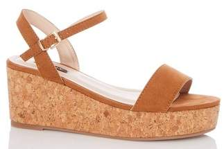 Dorothy Perkins Womens *Quiz Wide Fit Tan Suede Wedges