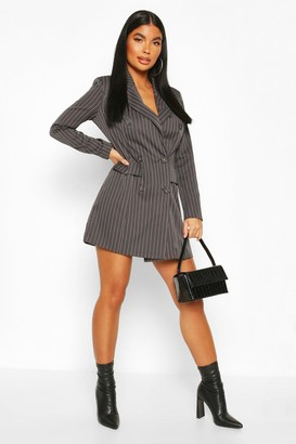 boohoo Petite Double Breasted Pinstripe Belted Blazer Dress