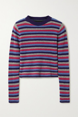 The Elder Statesman Ribbed Striped Cashmere Sweater - Blue