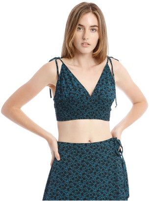 Miss Shop Teal Ditsy V-Neck Top With Shirred Bodice