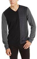 Calvin Klein Men's Cotton Modal Color Block Crew Neck Sweater
