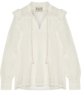 Sea Lace-trimmed Crinkled-gauze Blouse - Ivory