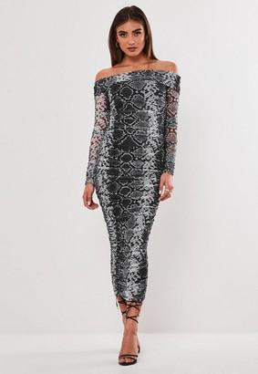Missguided Lipscombe x Grey Snake Print Bardot Ruched Mesh Midaxi Dress