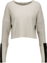 Autumn Cashmere Cropped pony hair-trimmed ribbed-knit sweater