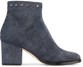 Jimmy Choo Melvin Studded Printed Leather Ankle Boots - Indigo