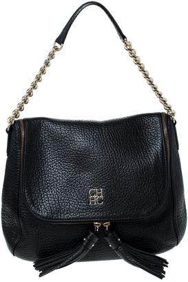 Carolina Herrera Black Leather Tassel Hobo