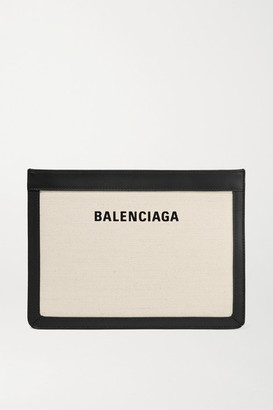 Balenciaga Leather-trimmed Canvas Shoulder Bag - Ivory