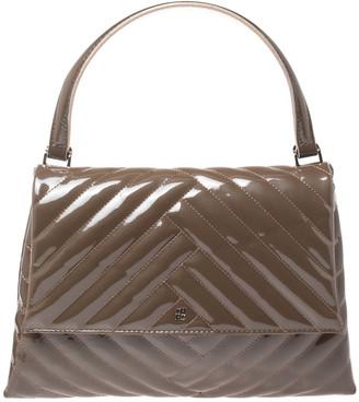 Carolina Herrera Dark Beige Quilted Chevron Patent Leather Flap Top Handle Bag