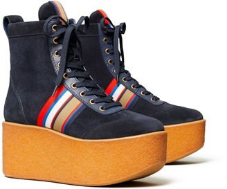 Tory Burch STRIPED HIGH-TOP PLATFORM SNEAKER BOOT