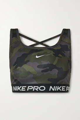 Nike Swoosh Mesh-paneled Camouflage-print Dri-fit Sports Bra - Dark gray