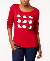 Karen Scott Petite Cotton Holiday Sheep Graphic Top, Created for Macy's