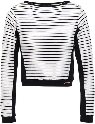 Pepper & Mayne Cropped Striped Stretch-jersey Top