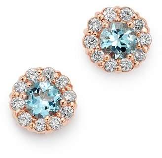 Bloomingdale's Aquamarine & Diamond Halo Stud Earrings in 14K Rose Gold - 100% Exclusive