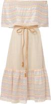 Miguelina Amaya Rainbow Stripe Off Shoulder Dress