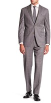 David Donahue Ryan Grey Windowpane Two Button Notch Lapel Wool Classic Fit Suit