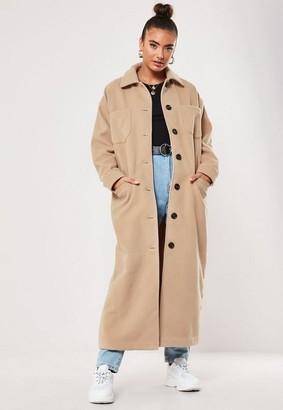 Missguided Camel Maxi Formal Coat