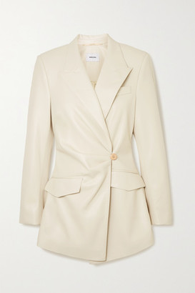 Nanushka Blair Gathered Double-breasted Vegan Leather Blazer - Off-white