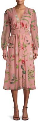 Oscar de la Renta Floral-Print Silk Dress