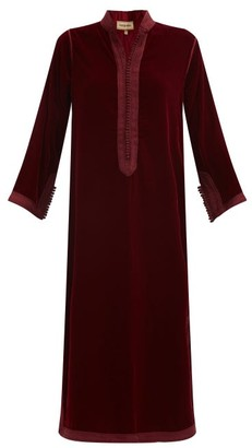 Muzungu Sisters - Alia Woven-trim Velvet Tunic Dress - Burgundy