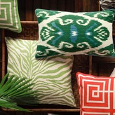 Printed Zebra Pillow Cover, Green