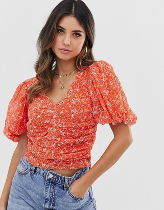Asos Design DESIGN short sleeve top with ruched detail in embroidery