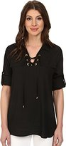 Calvin Klein Women's Modern Essential Lace-Up Blouse