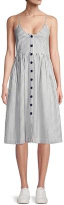ATM Anthony Thomas Melillo Striped Button-Front Linen-Blend A-Line Dress