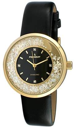 Peugeot Women Round Dress Watch - Slim Thin Case with Floating Genuine Diamond CZ and Leather Strap