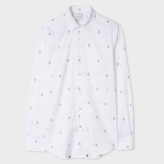 Paul Smith Men's Slim-Fit White 'Ghost' Motif Cotton-Twill Shirt