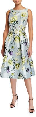 Neiman Marcus Sleeveless Crewneck Jacquard Fit-and-Flare Dress