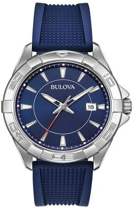 Bulova Men's Blue Rubber Silicon Strap Sport Watch, 44mm