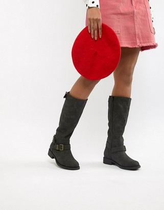Office Flat Knee Boots