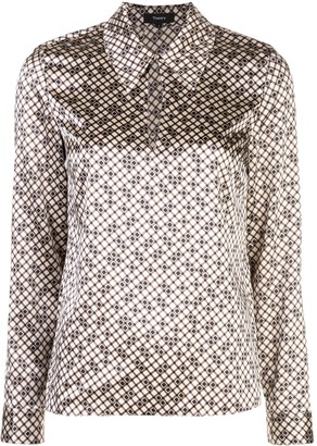 Theory Tile-print point-collar top