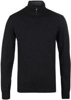 Hackett Charcoal Grey Funnel Neck Merino Knit Sweater