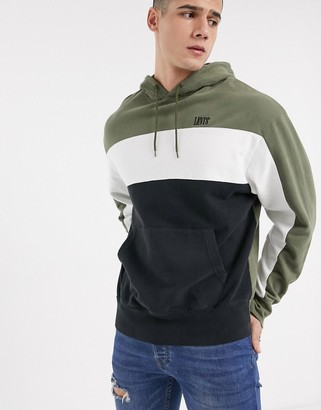 Levi's wavy colourbock logo hoodie in olive night/ white