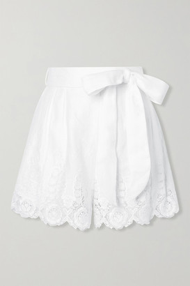 Miguelina Liana Guipure Lace-trimmed Linen Shorts - White