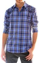 191 Unlimited Men's Blue Embroidered Plaid Shirt