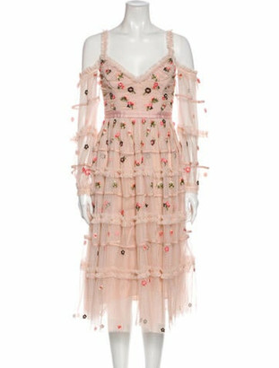 Needle & Thread Lace Pattern Midi Length Dress w/ Tags Pink