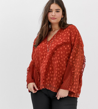 Religion Plus oversized blouse with frill detail in dobby spot