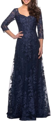 La Femme V-Neck 3/4-Sleeve Lace Gown with Mesh Illusion