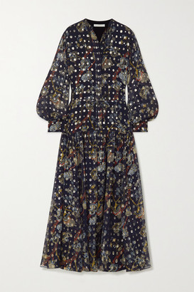 Chloé Embroidered Printed Silk-georgette Maxi Dress - Navy