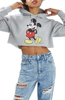 Topshop Women's Mickey Graphic Crop Hoodie