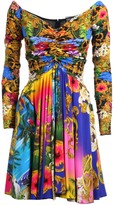 Versace Pleated Floral Print Dress