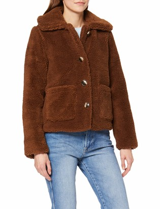 Miss Selfridge Women's Choc Button Teddy Coat Faux Fur