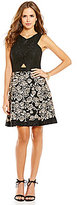 Gianni Bini Jasmine Cut-Out Embroidered Lace Fit-And-Flare Dress