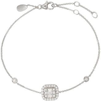 Monan 18kt White Gold Radiant Diamond Charm Bracelet
